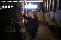 Photo Credit: TIMES PHOTO: JONATHAN HOUSE - Forward Stride volunteer Kathy Kelley visits equestrian friends in the organization's South Cooper Mountain stables. Kelley won the Professional Association of Therapeutic Horsemanships District 9 Volunteer of the Year award.