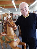 Photo Credit: REVIEW PHOTO: CLIFF NEWELL - Fred Squire has sold many fascinating items in his 52 years in the antique business. Hes been asked to ship this antique horse to Maui.
