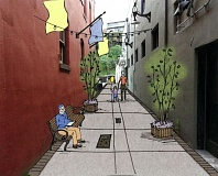 Photo Credit: COURTESY: CITY OF OC - Here's how an artist envisions one of Oregon Citys alleys could be used after upgrades are completed next year.