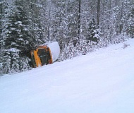 Oregon State Police say a school bus slid off an embankment and flipped twice on Saturday morning west of Bend. Six children and a Prinville bus driver were inside.