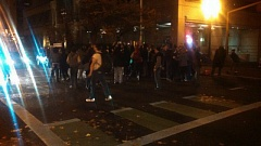 Photo Credit: KOIN 6 NEWS - Protesters blocked the road, but moved to the sidewalk when instructed by police in downtown Portland following a grand jury decision not to indict Ferguson police officer Darren Wilson for the shooting of unarmed teenager Michael Brown.