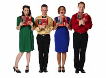 Photo Credit: PAUL RICH - From left, Megan Carver, Craig Allen, Amy Jo Halliday and Ben Farmer star in 'A Christmas Survival Guide,' the Broadway Rose Theatre Company's 2014 holiday show. See details in Dec. 1 listing.