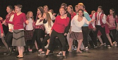 Baker Prairie Middle School students perform 'Winter Wonderland' during rehearsals for 'The One and Only Santa Claus.'