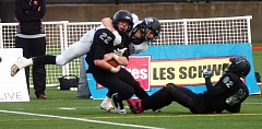 Photo Credit: DAN BROOD - Tigard senior Tysen Prunty (22), with freshman cornerback Brayden Lenzy nearby, came down with the victory-clinching interception in Friday's state playoff semifinal game.