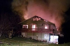 Photo Credit: PHOTO COURTESY OF CCFR - A chimney fire started in this Stripling Court house on Sunday night and spread to the attic then down to the rest of the house.  Nobody was injured, but the house was a total loss.
