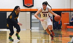 Photo Credit: TIMES PHOTO: MATT SINGLEDECKER - Beaverton senior forward Gigi Stoll scored seven key points in the fourth quarter to help the Beavers pull out a 39-31 preseason win over West Linn on Tuesday.