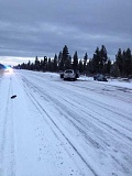Photo Credit: SUBMITTED PHOTO - Packed snow and ice covered Highway 97 outside of La Pine this morning when a car driven by Larry Russell Gardner of Lake Oswego lost control and slammed into an oncoming vehicle. Gardner was pronounced dead at the scene.
