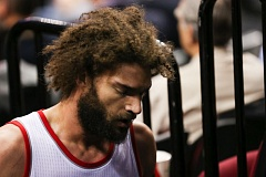 Photo Credit: COURTESY OF DAVID BLAIR - Trail Blazers center Robin Lopez leaves the court with a fractured hand during Monday night's homecourt victory over the San Antonio Spurs.