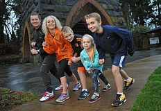 Join the Strealys for a Micro Marathon Fun Run/Walk New Year's Day. The event is a benefit for Oregon Foster Care. Pictured from left are Alden, Niki, Ethan, Audra and Aidan.