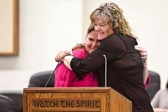 Photo Credit: TIMES PHOTO: JAIME VALDEZ - Cheryl White, right, a case manager with the Union Gospel Mission's LifeChange Center for Women and Their Children program, embraces Marla Bell, who graduated from the program a year ago and is moving on to independent living.