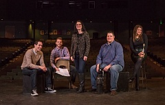Photo Credit: TIMES PHOTO: JONATHAN HOUSE - Westview theater director CJ Hindman, center, with her former students (from left) Colby Reade (2001), Ben Neal (2008), Ryan Royce (2000) and Ciara Pressler (1996).