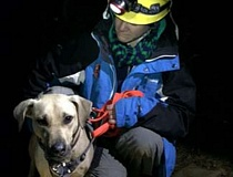 Photo Credit: OREGON HUMANE SOCIETY - Sandy, a 3-year-old yellow Lab, was rescued from a narrow ledge in the Columbia River Gorge on Christmas night. Volunteer John Thoeni rappelled down the cliff to save her.