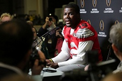 Photo Credit: TRIBUNE PHOTO: JONATHAN HOUSE - Cardale Jones, Ohio State quarterback, talks about his season and Monday's national championship game against Oregon.