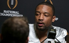 Photo Credit: TRIBUNE PHOTO: JONATHAN HOUSE - Erick Dargan, Oregon Ducks safety, answers questions from the media in Dallas.