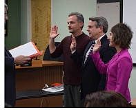 Photo Credit: SUBMITTED PHOTO - Canby City Councilors (from left) Todd Rocha, Greg Parker and Tracie Heidt were officially sworn into their posts last week at the first council meeting of 2015. However, while the three took their seats, the council was informed that one of its body, Ken Rider, would be leaving the council.