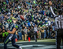Photo Credit: COURTESY OF MICHAEL WORKMAN - Seattle receiver Jermaine Kearse celebrates after catching the winning touchdown Sunday at CenturyLink Field.
