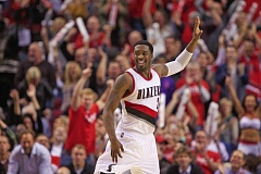 Photo Credit: TRIBUNE FILE PHOTO: JAIME VALDEZ - Trail Blazers shooting guard Wesley Matthews signals that he has made a 3-pointer in the season opener against Oklahoma City.