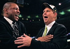 Photo Credit: ELSA/GETTY IMAGES - Danny Ainge (right) is making changes as president/basketball operations in Boston, where he hopes to get the Celtics back to the level they enjoyed in this 2008 NBA finals victory celebration with then-coach Doc Rivers.