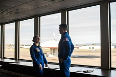 Photo Credit: HILLSBORO TRIBUNE PHOTO: CHASE ALLGOOD - Two pilots with the U.S. Navys Blue Angels precision flying team came to the Hillsboro Airport Jan. 7 to begin advance preparations for their appearance as part of this years Oregon International Air Show. Capt. Jeff Kruss and Capt. Corrie Mays became members of the Blue Angels last September. This years air show is set for July 17-19.