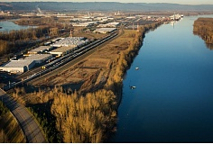 Photo Credit: COURTESY OF PORT OF PORTLAND  - Pembina hopes to build one of the most expensive projects ever undertaken in Portland along this strip of Port of Portland land in North Portland. At right is West Hayden Island.