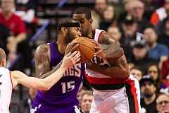 Photo Credit: TRIBUNE PHOTO: JAIME VALDEZ - Trail Blazers forward LaMarcus Aldridge was injured on this play Monday versus Sacramento.