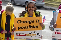 (Image is Clickable Link) Photo Credit: COURTESY PHOTO - A supporter of National School Choice Week in Austin, Texas.