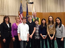 Photo Credit: SUBMITTED PHOTO - Members of the Lake Oswego Junior High debate team gathered at a Town Hall last week hosted by state Rep. Ann Lininger and Lake Oswego City Councilor Jeff Gudman. From left: Lininger, teacher Aletia Cochran, Andrew Johnson, Lance Pancost, Gudman, Noah Slobodin, Amy Wang, Julia Lininger-White and Doris Yang.