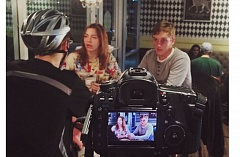 Photo Credit: SUBMITTED PHOTO - Elkabees Coffee Haus on Sunnyside Road allows Jake Thiessen (from left), Sierra Amanda Bish and Blake Dunbar to be filmed after-hours in 'Wrapped.'