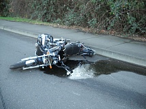 Photo Credit: PHOTO COURTESY: MPD - Russell Halverson's motorcycle is pictured after the fatal crash.