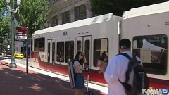 Photo Credit: KOIN 6 NEWS - Passengers prepared to board a TriMet MAX train in downtown Portland.
