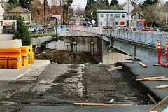 Photo Credit: DAVID F. ASHTON - Where once we all drove: With the east side approach section of the old Sellwood Bridge removed in December, construction began on the new east side approach.