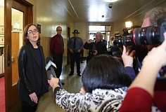 Photo Credit: TRIBUNE PHOTO: JAIME VALDEZ - Secretary of State Kate Brown talked with reporters Friday afternoon outside her Capitol office, shortly after Gov. John Kitzhaber announced its resignation. Brown will become the state's 38th governor on Wednesday, Feb. 18.