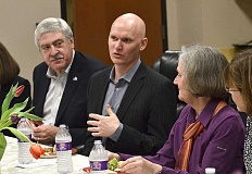 Photo Credit: REVIEW PHOTO: VERN UYETAKE - Anthony Doerr (middle) met with members of the Lake Oswego Reads steering committee prior to his presentation at Lake Oswego High School.