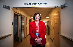 Photo Credit: TIMES PHOTO: ADAM WICKHAM - Jennifer Stafford, RN, at the Chest Pain Center at Legacy Meridian Park Medical Center. Stafford has worked for years to increase heart disease awareness and increase the quality of heart care at Meridian Park.