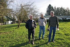 Photo Credit: TIMES PHOTO: JAIME VALDEZ - Wiliam 'Frosty' Comer, Joseph Marietta and Ned Randell stand on the property that was owned by the Cobb family  until the Tualatin Hills Park & Recreation District bought it in 2010. Now the district is considering selling a piece of the land for eventual development into housing for foster families and low-income seniors.