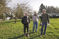 Photo Credit: TIMES PHOTO: JAIME VALDEZ - William 'Frosty' Comer, Joseph Marietta and Ned Randell opposed a possible deal between the city of Beaverton and the Tualatin Hills Park & Recreation District that would have turned a corner of the Cobb Trust property in their neighborhood into a housing development instead of a park. The deal appears to be off the table.