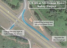 Photo Credit: CONTRIBUTED GRAPHIC: OREGON DEPARTMENT OF TRANSPORTATION - Construction crews will work through May to widen the right turn lane from Highway 26 to Orient Drive, as well as upgrade signage and traffic signals.