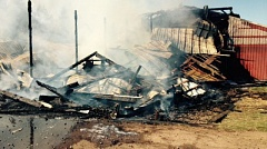 Photo Credit: PHOTO COURTESY: CLACKAMAS FIRE - Firefighters rescued dozens of pigs from this barn fire Feb. 28.