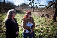 Photo Credit: ADAM WICKHAM - Jill Warren, right, and Tamara Alva, left, say that a planned apartment complex on Southwest Oak Street will cause flooding issues upstream. The Tigard City Council denied the project on Tuesday