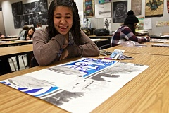 TIMES PHOTO: JAIME VALDEZ - Markayla Ballard, sophomore, shares a smile while sharing her artwork she's working for the Student Visual Chronicle project in Jeannine Miller's classroom at Tualatin High School.