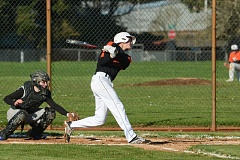 JOHN WILLIAM HOWARD - Owen Parsons takes a swing during the second inning of the Indians 2-0 win over Rainier on Wednesday, March 18. Parsons was walked in the second, but scored the final run in the sixth inning.