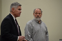 COURTNEY VAUGHN - Gene Baska (right) appears in court Monday, March 16 with his attorney, Wayne Mackeson. Baska was arraigned on child sex charges.