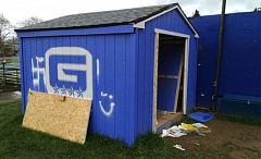 COURTESY KOIN 6 NEWS - A swastika and a racial epithet were scrawled on a storage shed at Grant High School sometime before 7 a.m. Sunday.