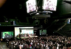 TRIBUNE PHOTO: PETER WONG - Friends and family said farewell Saturday, March 21, to former University of Oregon President Dave Frohnmayer, who died early this month, during a memorial service as UO's Matthew Knight Arena.