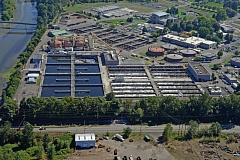 COURTESY: SKYSHOTS - In 2009, the Columbia River Wastewater Treatment Plant installed two 850-kilowatt engine-generators, which use about 40 percent of the plants biogas as fuel to generate electricity for the wastewater treatment process.
