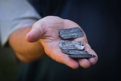 COURTESY OF TIM HILL - World War II dog tags found near Rockhampton, Queensland, Australia, by Ian MacGregor and Tim Hill will be returned to Northwest soldiers or their families during an April 18 ceremony in Sellwood.