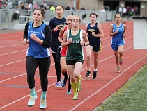 JIM BESEDA/MOLALLA PIONEER - Colton junior Brylee Moyle settled into the middle of the pack in the girls' 800-meter run at last week's non-conference meet at Tigard High School.