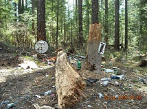 COURTESY OF THE MT. HOOD NATIONAL FOREST - Mt. Hood National Forest officials shared this photo as an example of  irresponsible target shooting and trash on the Clackamas River Ranger District.