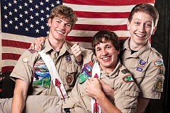 PHOTO COURTESY OF KERRI ANN GARFIELD PHOTOGRAPHY - From left, Nick Dunstan, Carson Waller and Charlie Hatch are lifelong schoolmates and have been Scouts together since joining Cub Scouts in first grade. The three friends recently celebrated the fact that each of them earned his Boy Scout Eagle Award.