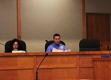 OUTLOOK PHOTO: KATY SWORD - The only indication that Ted Kotsakis was a councilor in Fairview during the April 15 meeting was his empty chair next to Councilor Brian Cooper.